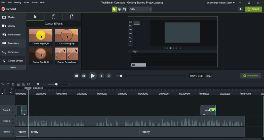 camtasia dashboard