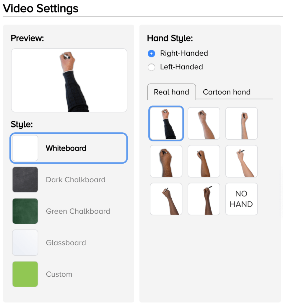 doodly hand settings
