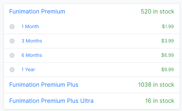 Funimation Premium Pricing in AccountBot