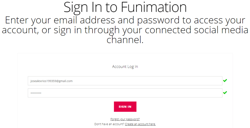 Sign in to Funimation