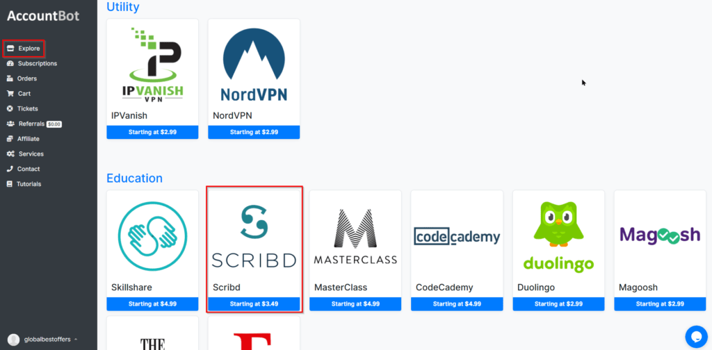 Explore and Find Scribd in AccountBot