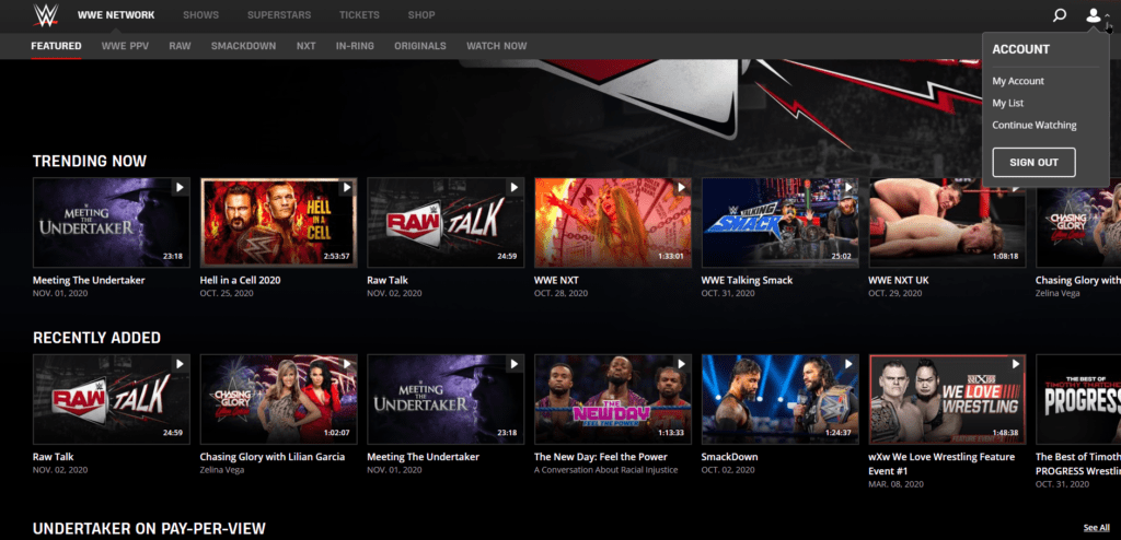 Successfully logged in to WWE Network