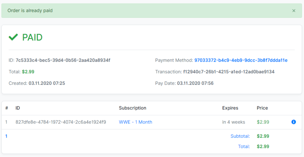 Payment Successful on AccountBot