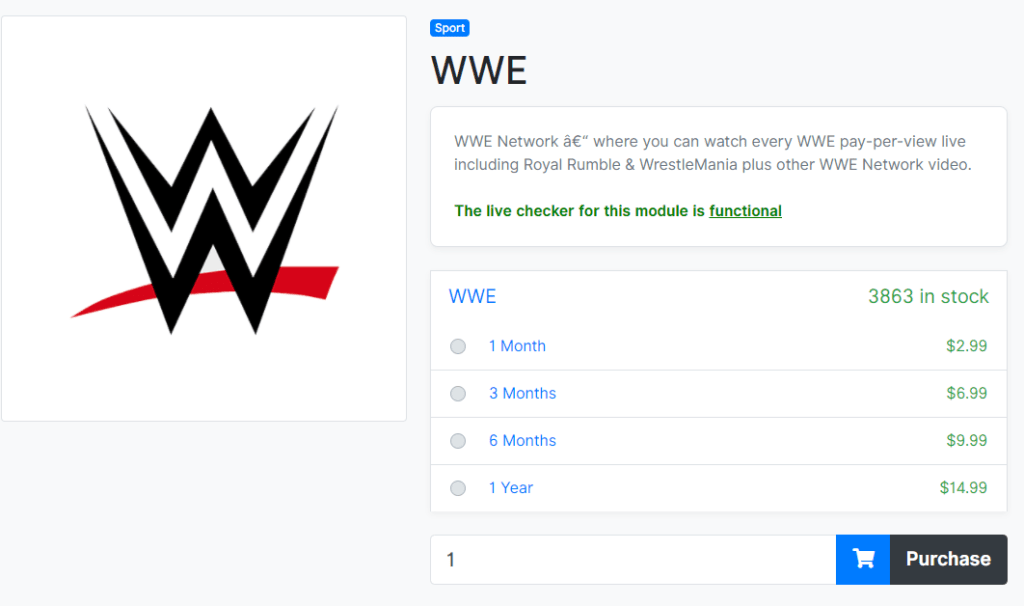 details page of WWE Network subscription on Accountbot