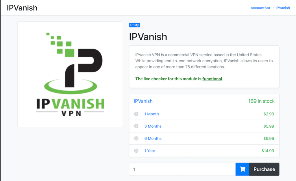 IPvanish account affordable price
