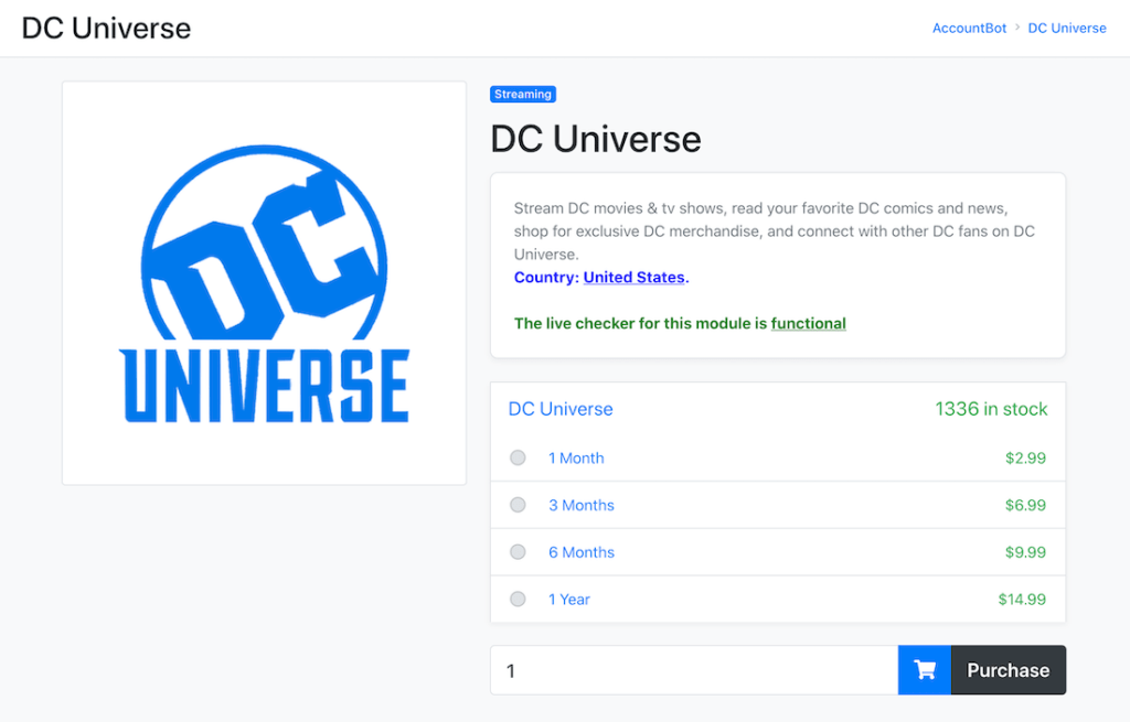 Dc universe account