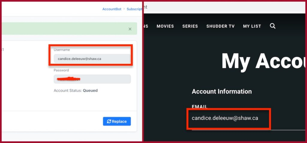 shudder working account