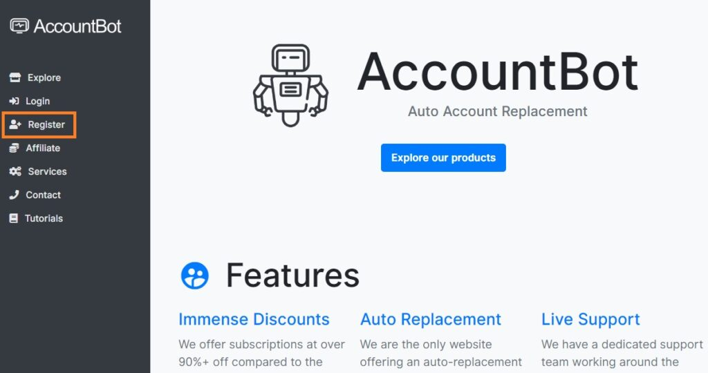 Register on accountbot
