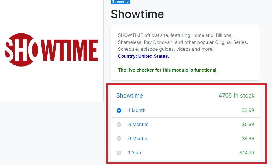 Showtime plans and pricing