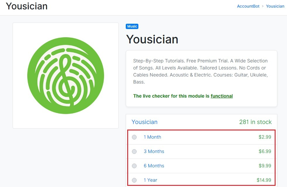 yousician plan and pricing