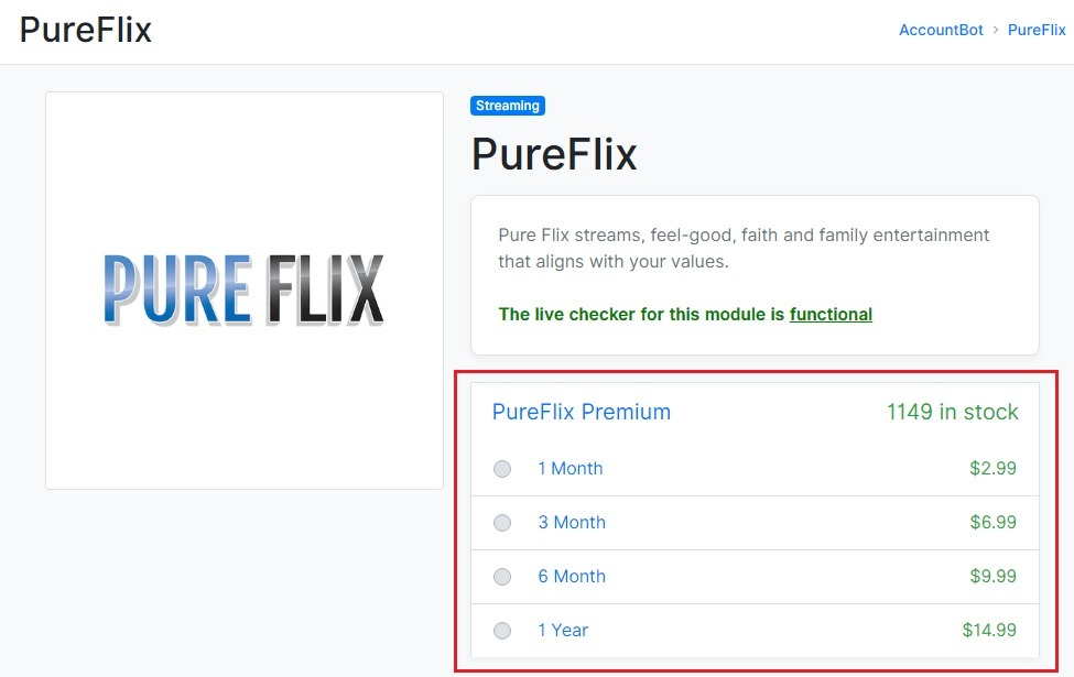 PureFlix plans and pricing