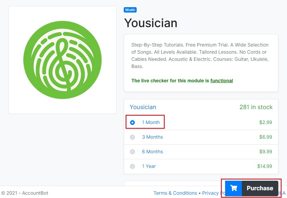 Yousician free account